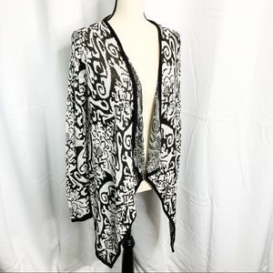Charming Charlie open front cardigan black white M